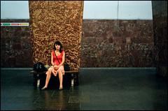 rustaveli metro - tbilisi (chirgy) Tags: red woman girl look station bench georgia waiting eyecontact metro pillar rangefinder skirt vest marble tbilisi fujisuperia1600asa 1054 sundaystroll voigtlanderbessar თბილისი საქართველო rustaveli autaut jupiter850mm12 colouredlikeliver