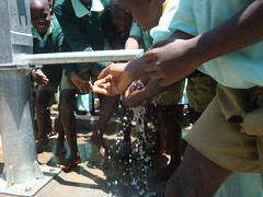 Eburenga primary school,water flowing during hand over ceremony