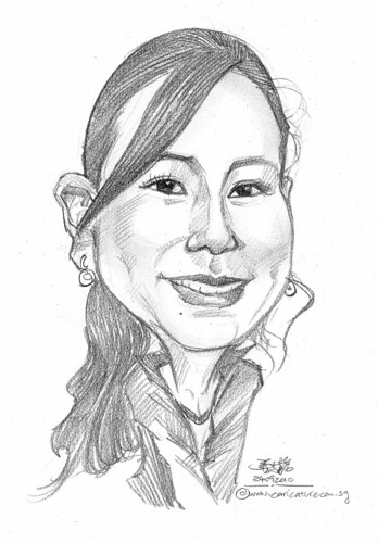 lady caricature in pencil 240910