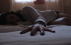 can you feel me reaching out towards you? (Hanna Constantina) Tags: girl bed soft alone quiet hanna sheets curtains
