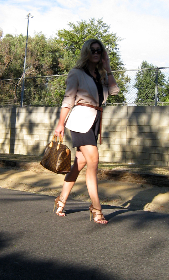 belted blazer over navy dress+brown sandals and lv speedy