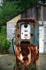 Abandoned Gas Station (scott_z28) Tags: old classic abandoned film mi canon vintage kodak decay michigan rusty slide gas pump oxidation gasoline pure 39 midland elan7 tricities e100g tokheim 50mmf18ii pineriver 81a ncps portertownship