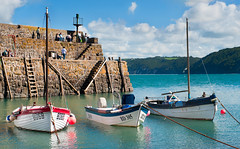 Bliss (4macfotography) Tags: ocean blue trees sea sky cliff cloud wall boat fishing village harbour steps meadow sunny rope devon anchor motor ladder mast bouy beacon clovelly
