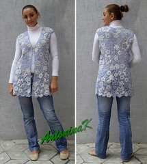 Denim_cardigan (antonina.kuznetsova) Tags: people flower motif lace crochet ukraine clothes denim freeform irishcrochet kherson crochetlace lacefreeform antoninakuznetsova