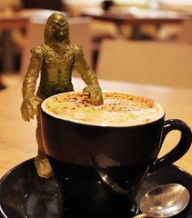 Too hot! (Hannhell) Tags: toy waynescoffee capuccino creaturefromtheblacklagoon 1stoctober 274365 2010inphotos