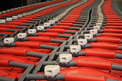 Red plastic carts. (Polycart) Tags: light green comfortable self shopping handle one store coin long all silent lock trolley rfid gray environmental supermarket plastic whole single friendly service block safe easy cart grocery piece stores eco carts supermarkets trolleys compact nested recyclable p220 robust polypropylene hypermarket lasting hypermarkets
