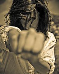 Messy Hair (Samir ..lll..) Tags: camera eye girl look shirt sepia composition contrast dark hair photography idea