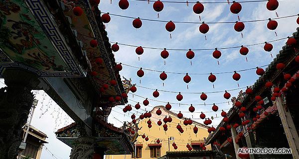 Another bottom up view picture of this colourful temple
