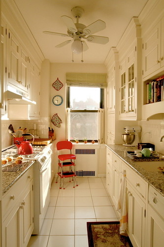 small white galley kitchen