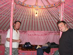 John and Paul's pink Ger (jayselley) Tags: park three nationalpark asia september mongolia national beauties exodus 2010 mongol gurvan gurvansaikhan threebeauties saikhan mongolianadventure