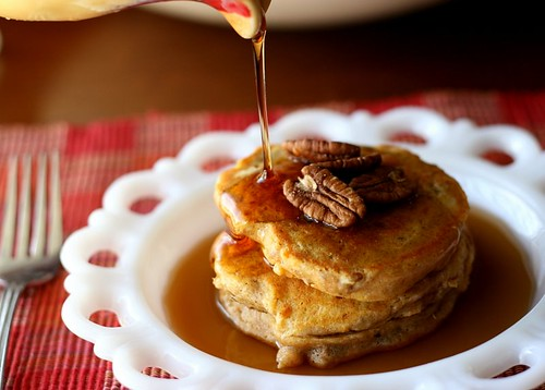 Spiced Sweet Potato and Pecan Pancakes