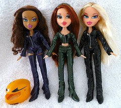 Bratz Dynamite Dolls Cloe Meygan Nevra (migglemuggle) Tags: 2005 new brown black green leather ginger dolls purple used jacket blonde trousers dynamite boxed bratz cloe nevra meygan deboxed
