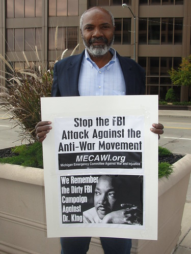 Abayomi Azikiwe, editor of the Pan-African News Wire, covering the MECAWI demonstration in downtown Detroit on October 5, 2010. (Photo: Bryan Pfeifer) by Pan-African News Wire File Photos