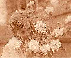 Roses (Abaraphobia) Tags: family flowers 1920s roses summer england english girl childhood sepia vintage garden hair happy photo blackwhite thirties 1930s waves perfume britain snapshot bob snap smell british hairstyle wavy idyllic foundphoto watford foundimage twenties mreaife