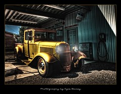 Oregon / HDR / Custom Car / Yellow / Ford / Truck / Gas Station / Texaco / Retro / Shaniko / Kyle Bailey / Canon / Hot Rod / Ride / Classic (Kyle Bailey - Da Big Cheeze) Tags: blackandwhite ford truck gasstation hdr kylebailey rookiephoto dabigcheeze wwwrookiephotocom