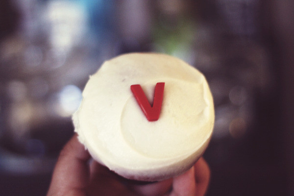 V for Vegan Sprinkles Cupcake