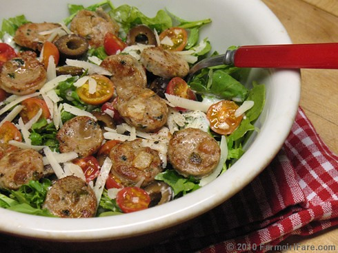 Arugula Salad with Cherry Tomatoes, Black Olives, Chicken Sausage, and Romano with Homemade Buttermilk Ranch Dressing