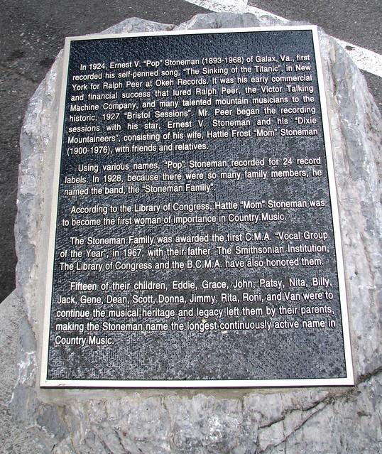 """""""Pop"""" Stoneman marker - Bristol, VA"""