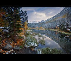 Weir Pond in Snow (TomGrubbe) Tags: autumn trees lake snow mountains reflection fall leaves landscape pond bishop weir easternsierras southlake weirpond weirlake