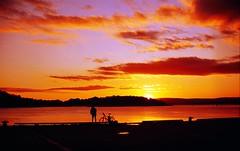 the docks (Benjamin Skanke) Tags: trees sunset sea sky man film colors bicycle oslo norway clouds docks 35mm island 50mm norge fishing md minolta f14 slide 11 velvia filter canoscan warming xd 100f rokkor