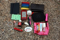 What's In My Bag (RainyDayKelli) Tags: camera moleskine work gum bag keys rainbow perfume phone wallet target flashlight pens zippers lipbalm lotion hanky pocketknife namebadge nailclippers coinpurse kellianne essentialoils hairbob yestocarrots readinglog zippercoinpurse eczemamedicine