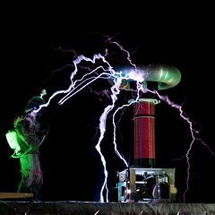 Megavolt IV-Square-sm (Christopher Robin Blum) Tags: lighting man square high dr burning metropolis format coil sparks tesla 2010 voltage megavolt