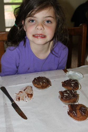 Ellamay with her echidna cupcakes