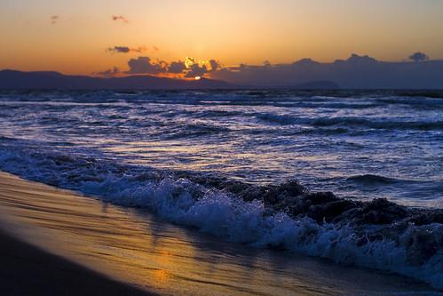フリー写真素材, 自然・風景, ビーチ・砂浜, 夕日・夕焼け・日没, 海, 日本,