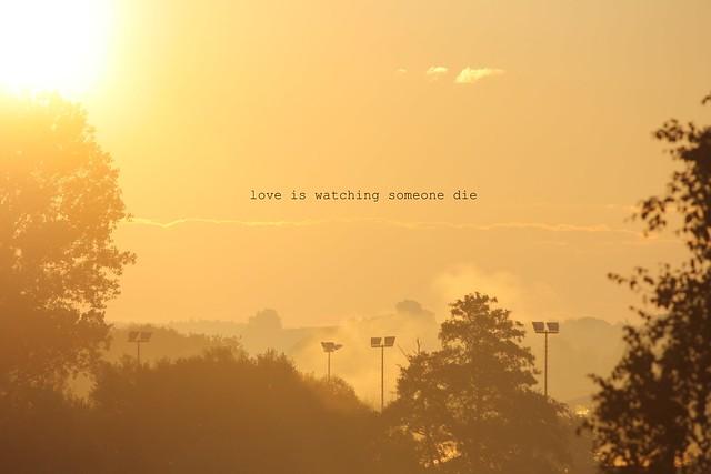 love is watching someone die