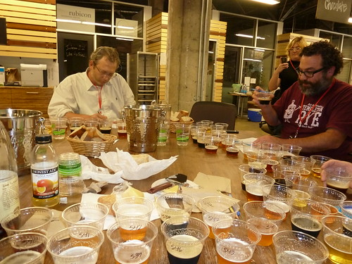 Renato Sardo and Dave McLean judging beer at the Good Food Awards