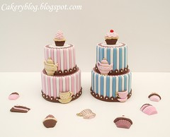 Tea-party (PiaMarianne) Tags: pink blue brown cake dummies tea ivory pot cupcake dummy sugarpaste