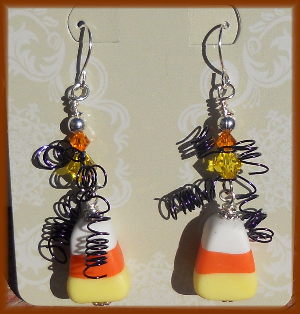 Polymer Clay * Crazy Candy Corn Earrings (kellee's Beaded And Clay  Creations) Tags: