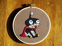 Nibbler from Futurama (detail) (Zhad_Squad) Tags: needlework embroidery futurama crafting geekery nibbler geekcrafts