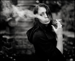 Hazy Feelings (Jochen Abitz) Tags: light portrait bw 120 film fashion analog haze fuji outdoor smoke 400 editorial neopan 6x7 rodinal 67 available 501 plaubel makina siyahbeyazdler