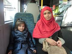 London bus, Mother and daughter 2010 (Julie70 Joyoflife) Tags: blue red portrait woman bus london photo femme automn londres autobus 2010 londoners londoner julie70 copyrightjkertesz asszony femeie photojuliekertesz photojulie70