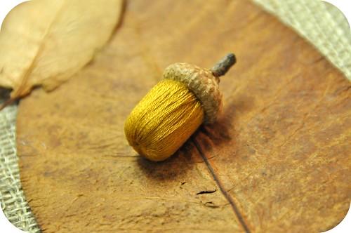 stumpwork acorn