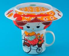 Whimsical Vintage Child's Dish Set (jollypollypickins) Tags: red orange cup girl bicycle vintage plate housewares bowl mug collectibles whimsical childset kidset etsyjollypollypickins