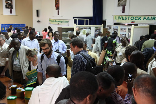 a crowd exchanging knowledge at the marketplace