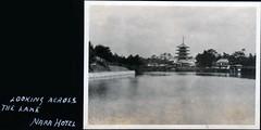 Looking Across the Lake (A.Davey) Tags: lake  nara kofukuji      oldjapan  vintagephotoofjapan prewarjapan  japan19141918 fivestoriedpagodaatkofukuji