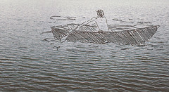 Songs are as sad as the listener (jordiemoffat) Tags: ocean morning blue sea lake man water dawn one boat sketch waves alone arms sink drawing ripple paddle clarity fast overlay sparkle thoughts thinking lonely float drift oars moffat jordie