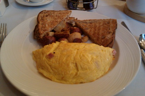 Ham and cheddar omlette