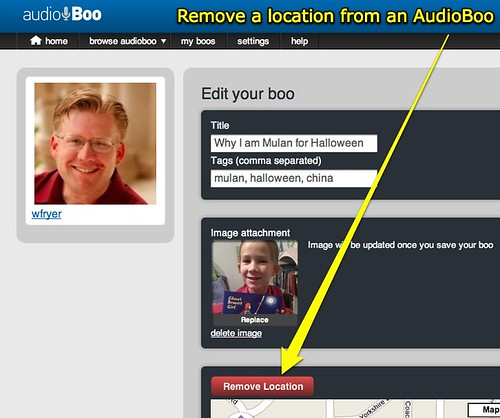 Remove a location from an AudioBoo