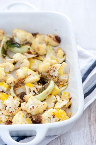 roast cauliflower with saffron & pinenuts