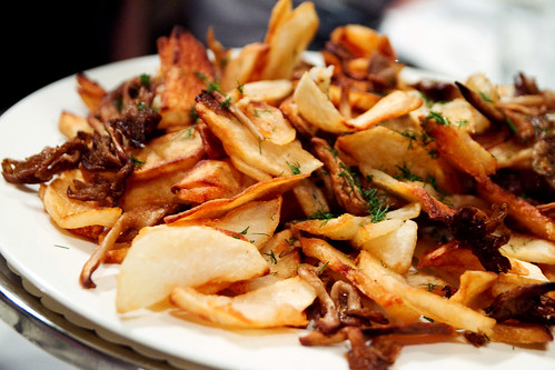 fried potato and mushroom