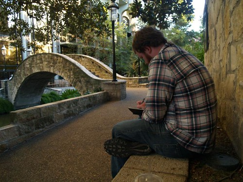 sketching on the San Antonio Riverwalk