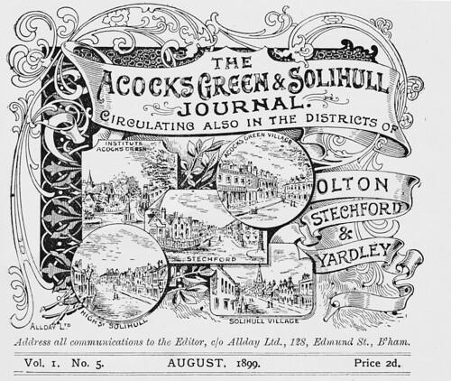 Acocks Green & Solihull Journal. August 1899.