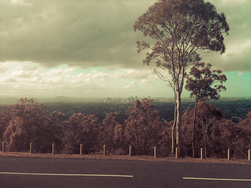 A photo of the view from a mountain towards Brisbane city with a gum tree sitting in the foreground. The colouring has been altered and the photo looks a little bit like a typical Australian landscape painting.