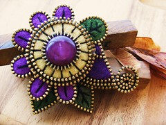 A lovely mauve/purple (woolly  fabulous) Tags: flower wool leaves pin recycled buttons brooch felt zipper woollyfabulous
