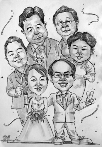 group wedding caricatures in pencil