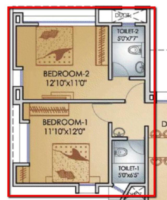 Teerth Towers 2 BHK Flat Bedrooms
